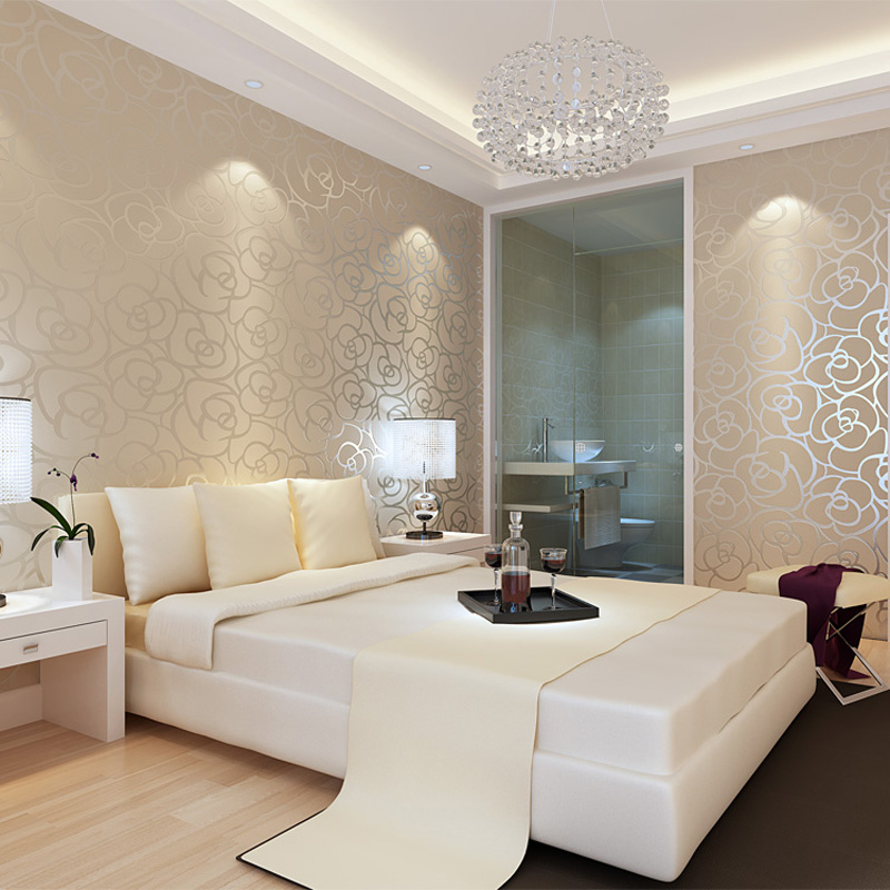 Classic style velvet wallpaper gold rose flower living for Gold wallpaper living room