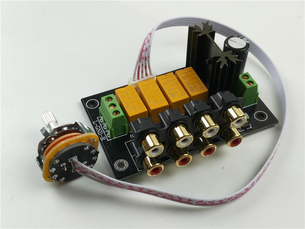 De alta fidelidade de áudio 4 pares RCA Selector Selector de Fonte de Sinal de entrada de Comutação Para Amplificador de Áudio Amplificador De Potência Kit DIY/montado placa