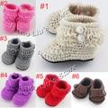 Handmade Crochet Baby Snow Booties Loops Design First Walker Shoes Cotton Yarn Mix Design Custom 10pairs/lot XZ010