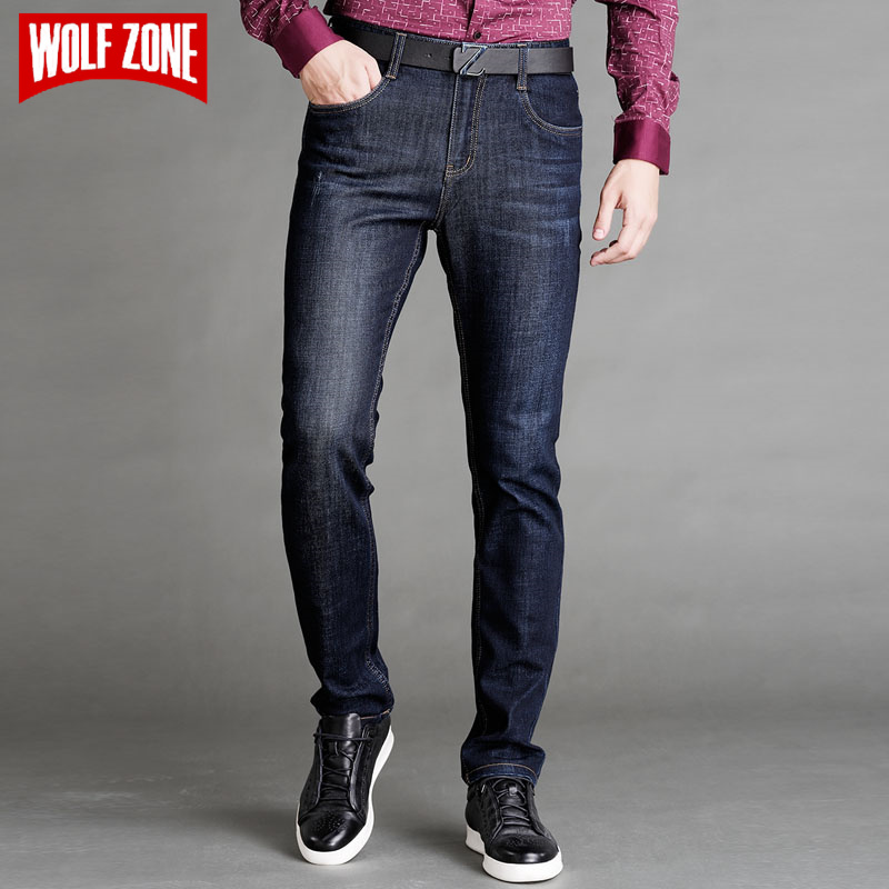 Top Fashion Elastic Jeans Men Famous Designer Brand Clothing Mid Skinny Pants Mens Business Male Casual Solid Regular Trousers 2016 new mens jeans pants elastic mid rise straight men clothing tops trousers deep blue casual trousers cool stretch men jeans