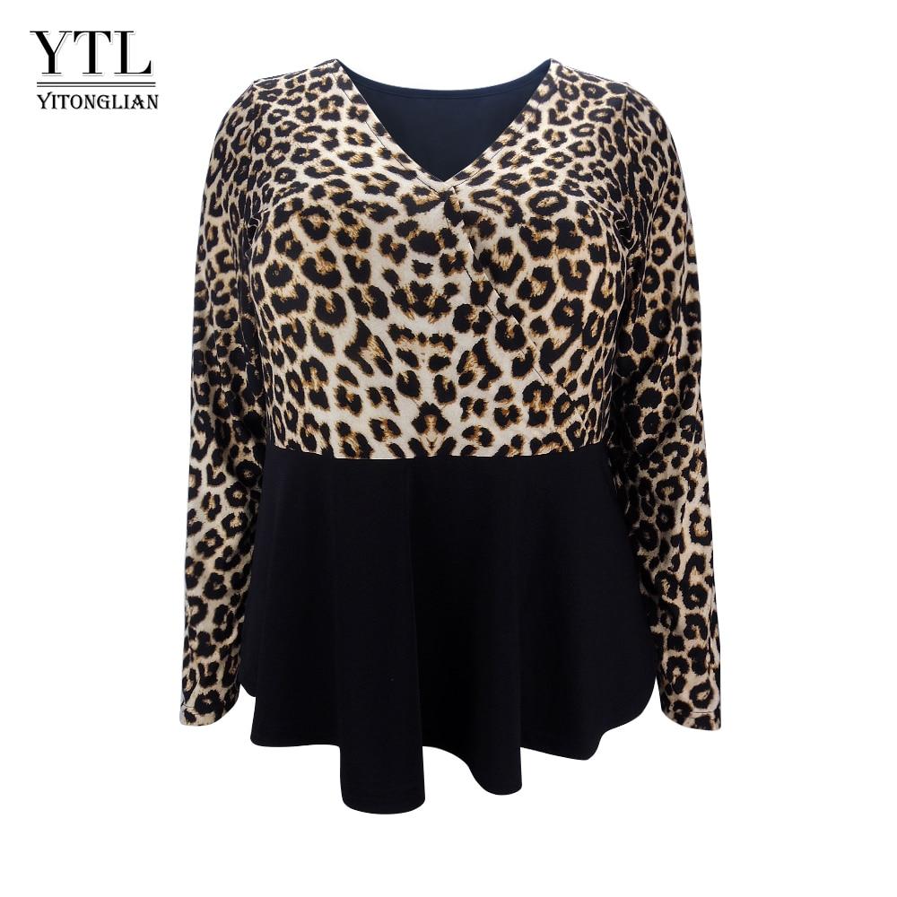 20ec4896e0cc6 Detail Feedback Questions about YTL Large Size Womens Tops and Blouses  Fashion Leopard Print Patchwork Tunic Top V Neck Plus Size Blouse Shirt 3XL  4XL 5XL ...