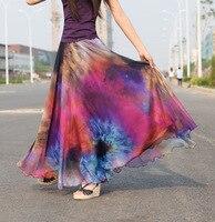 Women S Summer Heat Ladies Fairy Fashion Print Chiffon Maxi Size Elastic Waist Skirt Pendulum