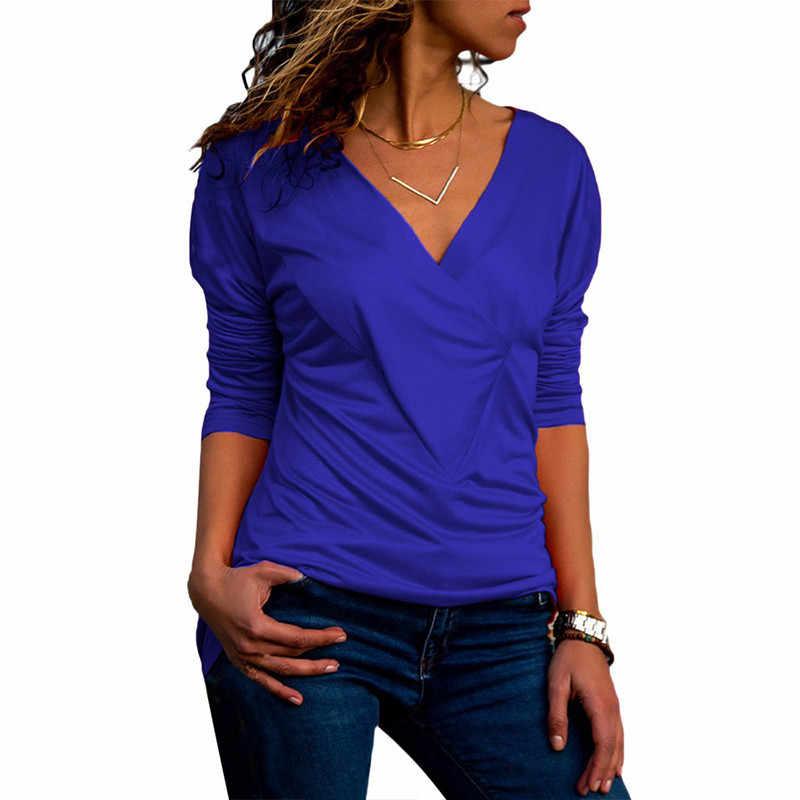 ブラウス女性の綿のトップ 2019 カジュアル長袖シャツファッション V ネックソリッドブラウスエレガントなオフィストップス Tシャツ女性プラスサイズシャツ