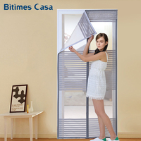 High Density Mesh Door Curtain Screen Solid Color Stripe Pattern Simple Elegant Home Decoration Easy Installation