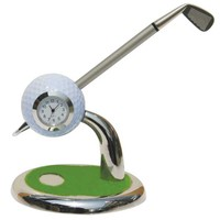 ACMECN Golf Pen Holder with Clock Cute Design for Gifts with Golf Ballpoint Pen Stand for Sport Club Accessories Promotion Gifts