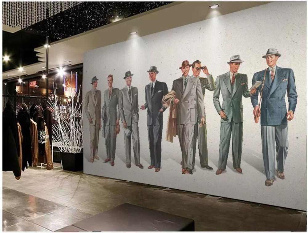 Custom photo 3d room wallpaper European retro hand-painted men's suit clothing store 3d wall murals wallpaper for walls 3 d