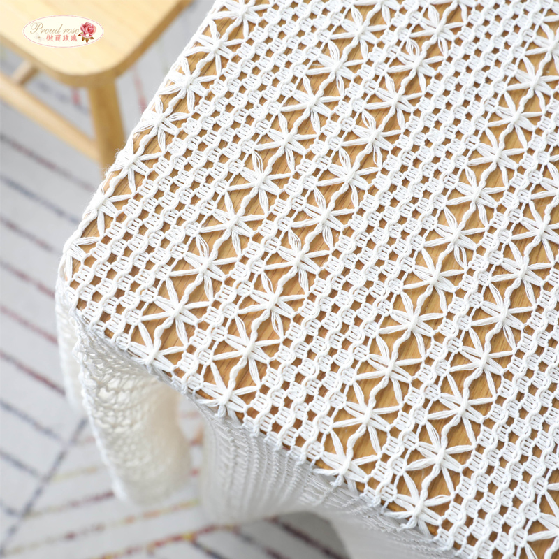 US 39 OFF Proud Rose White Crochet Table Cover Towel Cotton Table Cloth Woven Tablecloths Hollow Piano Towel Shooting Props In Tablecloths