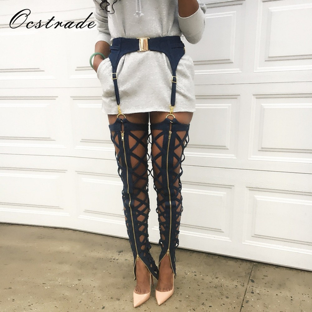 Ocstrade New Products 2019 Summer Fahison Lace Up Women Black Sexy Bandage Leggings With Zip Embellished