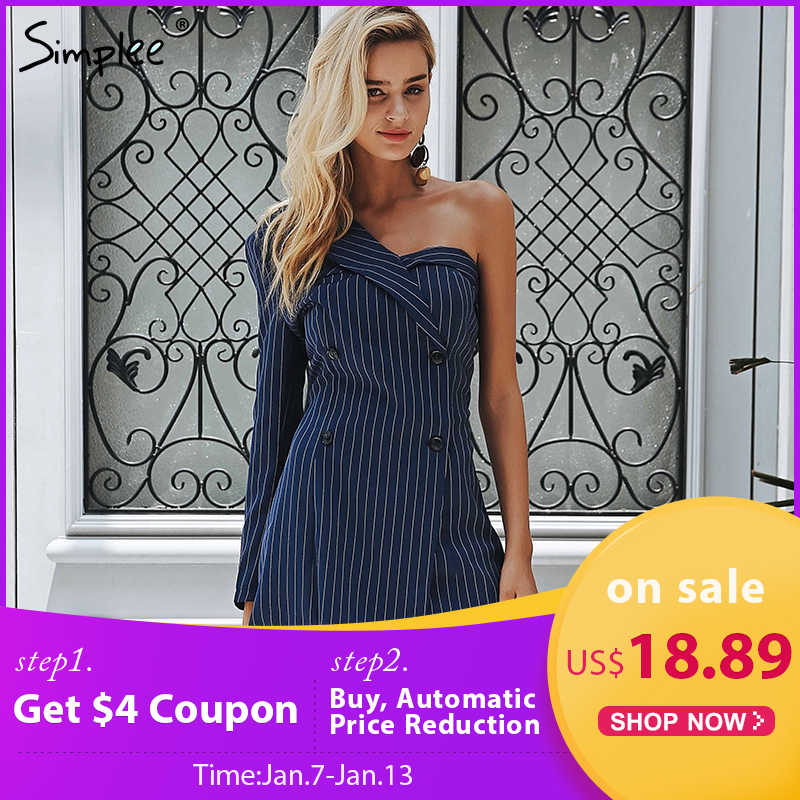 11f0784ad8 Simplee One shoulder striped suit sexy dress A-line short women dress  office lady Casual