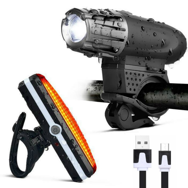USB Rechargeable Waterproof Bike Light Set LED Super ...