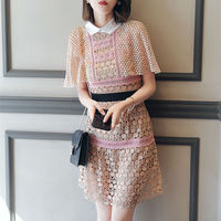 2017 Fashion SP Women Peter pan Collar Lace Patchwork Elegant Cutout Slim Casual One-piece Dress