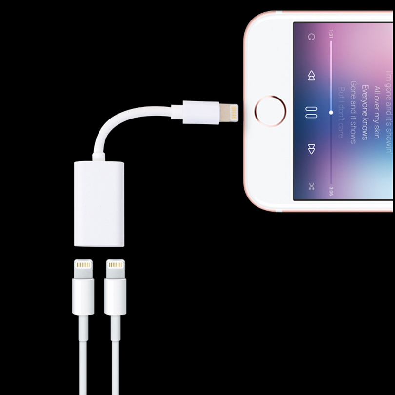 Mobile Phone - 2 in 1 for iPhone Splitter Practical Dual for Lightning Adapter with Apple Audio and Charger Adapter