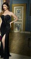 Long Dresses For Evening Wedding Party Elegant New Fashion 2017 Women Black Strapless Mesh Long Bandage