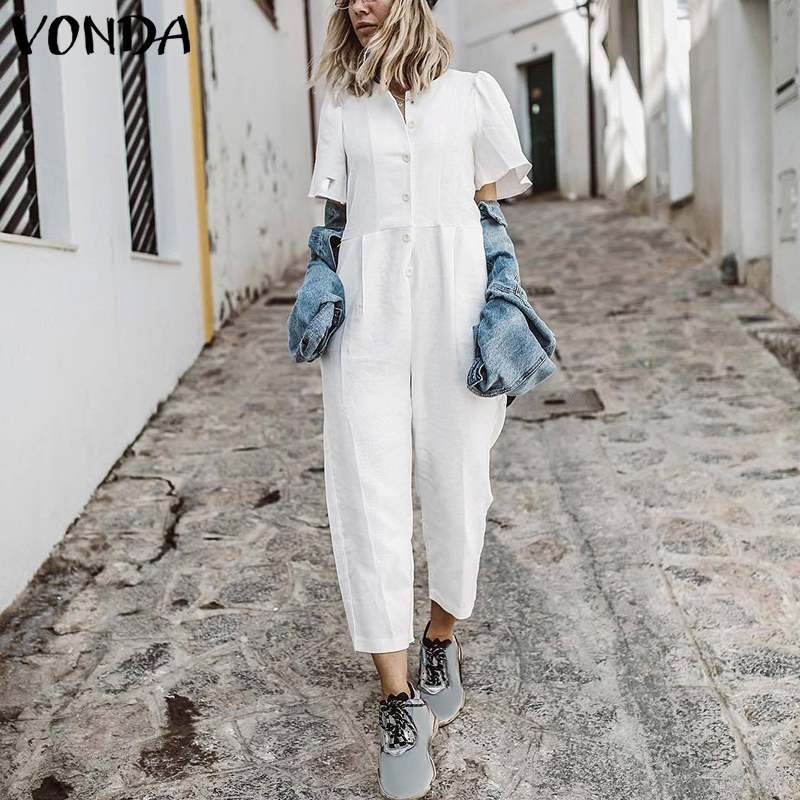 2020 VONDA Women Jumpsuit Summer Romper Sexy Short Sleeve Button Straight Playsuit Casual Cotton Playsuit OL Overalls Plus Size