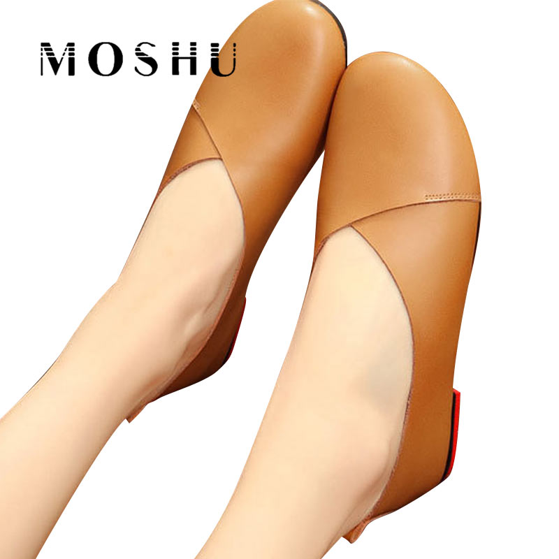 Women Summer Flats Genuine Leather Casual Shoes Shallow Slip On Loafers Moccasins Shoes Chaussure Femme Plus Size 35-43 цена