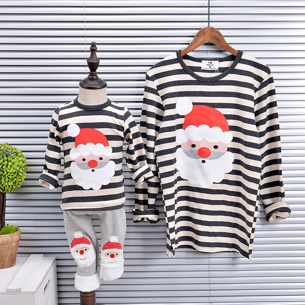 S135 Winter Mother Kids Leisure Outfits Christmas Costume Family Matching Outfits Family Long Sleeve T-shirt Xmas Clothes new christmas family look family matching outfits t shirt color milu deer matching family clothes mother baby long sleeve cc527
