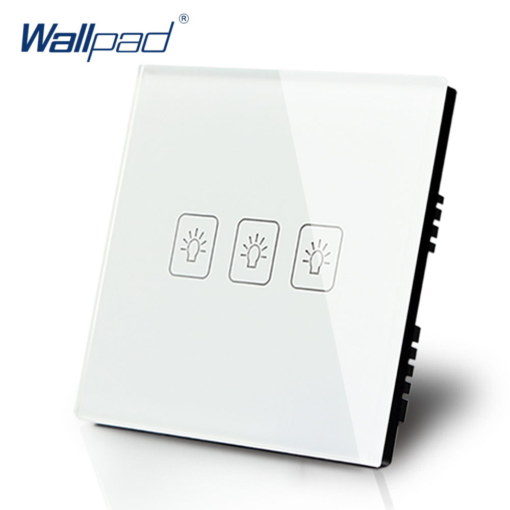 Wallpad Luxury White Crystal Glass Wall Switch Touch Switch Normal 3 Gang 1 Way Switch AC 110-250V UK Standard smart home us au wall touch switch white crystal glass panel 1 gang 1 way power light wall touch switch used for led waterproof