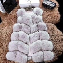 Осенне-зимнее женское пальто, пальто из искусственного меха, повседневный тонкий жилет из искусственного лисьего меха без рукавов, зимняя женская куртка casaco feminino