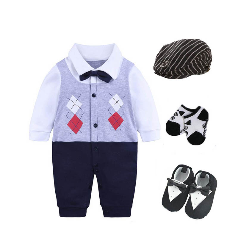infant baby boys clothes party birthday bodysuit+hat+socks ...