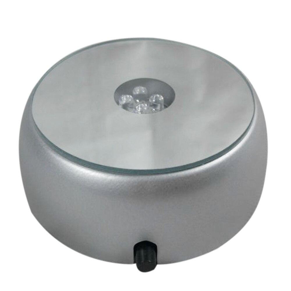 Gray Round Crystal 4 LED Light Music Box Base Crystal Box Base Gift Box Decoration