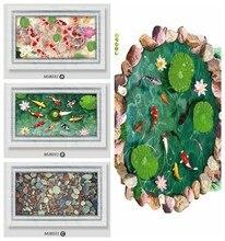 Autocollant mural 3D créatif, trou de fenêtre en feuille de Lotus, décoration de sol vive, salle de bains, porte de salle de bain, joli mur