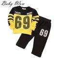Deportes trajes para niños bebé ropa de los juegos del deporte Hip Hop 69 número Print sudaderas niños conjunto tyh-20443