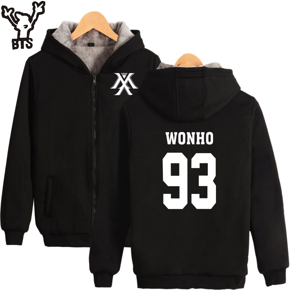 SMZY Kpop MONSTA X Sweatshirt Women Korean Pop Hip Hop Fans Coats Thickening Kpop Harajuku Hoodies Women Female Zipper Clothe