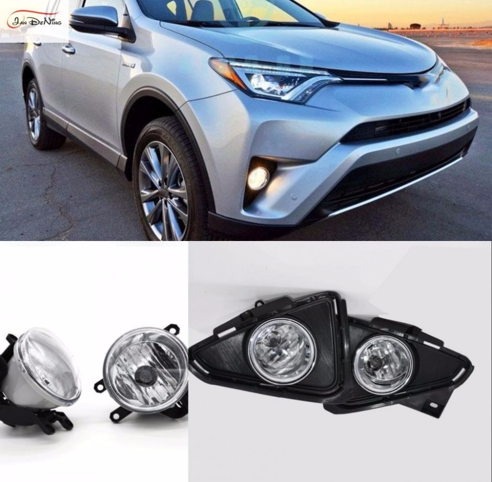 JanDeNing Car Fog Lights For 2016-2017 Toyota RAV4 Halogen bulb Clear Front Fog Lamp Assembly kit (one Pair) car fog lights lamp for mitsubishi triton 2 door 2009 on clear lens pair set wiring kit fog light set free shipping