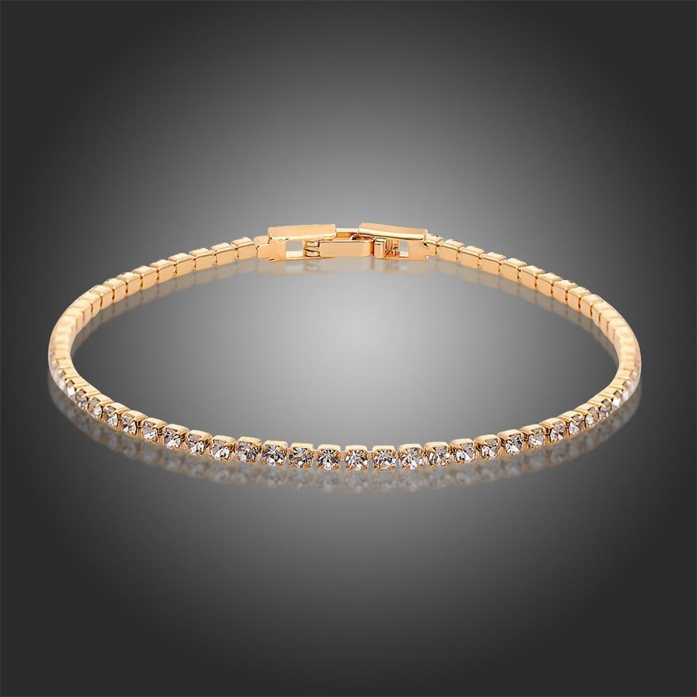 Tennis Charm Bracelet: 6 Colors Gold Plated Cluster Rhinestones Crystals Slim