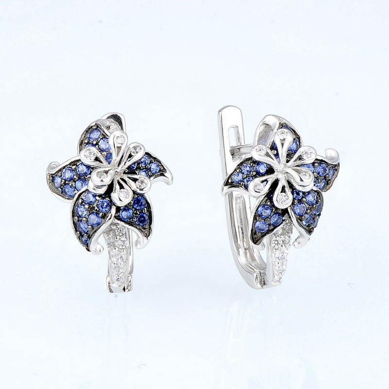 Image 3 - SANTUZZA Silver Earrings For Woman Pure 925 Sterling Silver Blue Star Flower Cubic Zirconia серьги женские Fashion Jewelry-in Stud Earrings from Jewelry & Accessories
