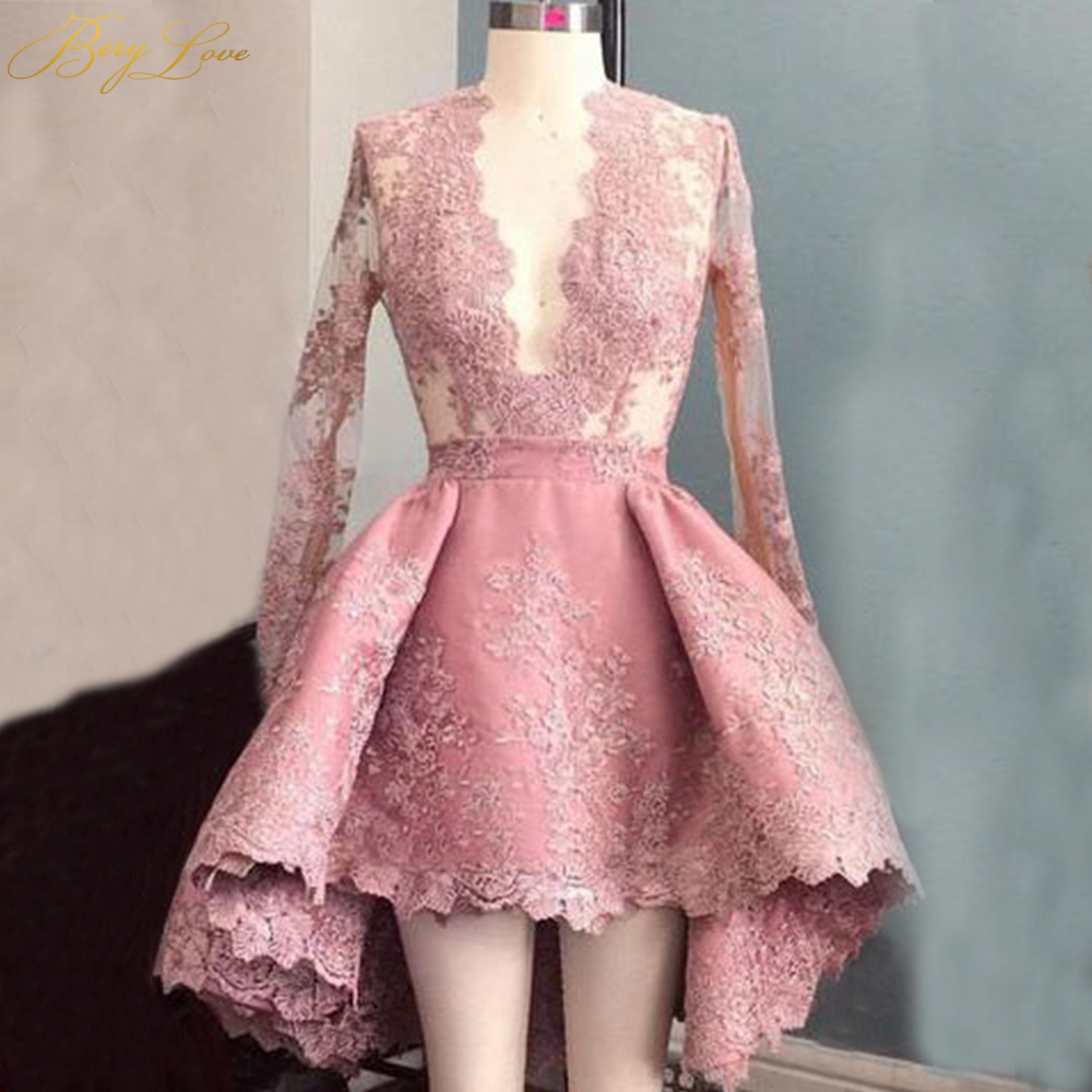 BeryLove Short High Low Pink Homecoming Dress 2019 Long Sleeves Lace Homecoming Party Gown Graduation Dress Style Fresh Looking