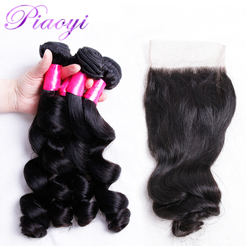 Peruvian Hair Weave 3 Bundles With Closure Piaoyi Non Remy Loose Wave Human Hair Bundles With 4x4 Lace Closure Bleached Knots