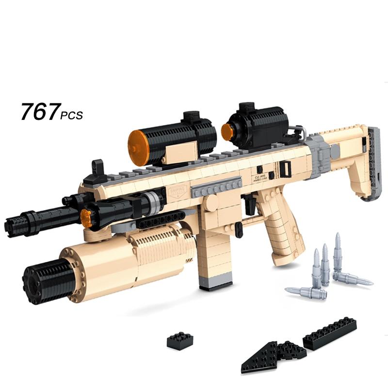 ФОТО Ausini Assault Rifle CZ805 Gun Model Toys Building Block Sets Educational DIY Assemblage Bricks Toy  767PCS