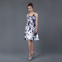 2018 New Arrival Printed Short Cocktail Dresses Black and White Spaghetti Satin Formal Women Dress Evening Party