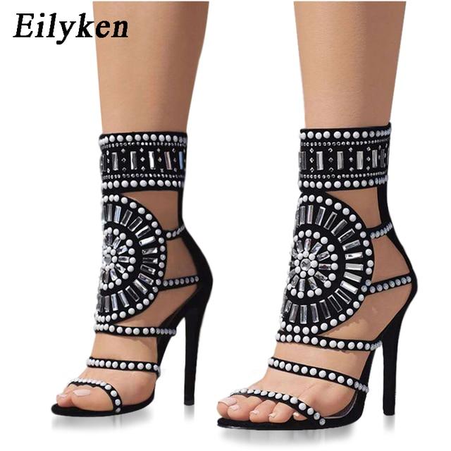 Eilyken אתני בוהן פתוח ריינסטון עיצוב עקב גבוה סנדלי קריסטל קרסול לעטוף יהלומי גלדיאטור נשים סנדלים שחור גודל 35 42