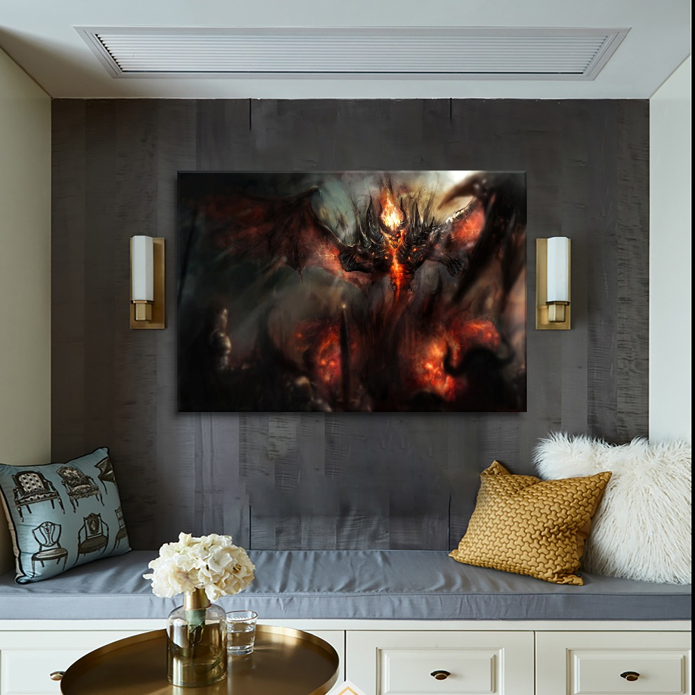 Wall Decor Game DotA 2 Dark Demon Picture For Modern Living Room Or Bedroom One Set 3 Pcs Modular Painting Framed Or Frameless in Painting Calligraphy from Home Garden