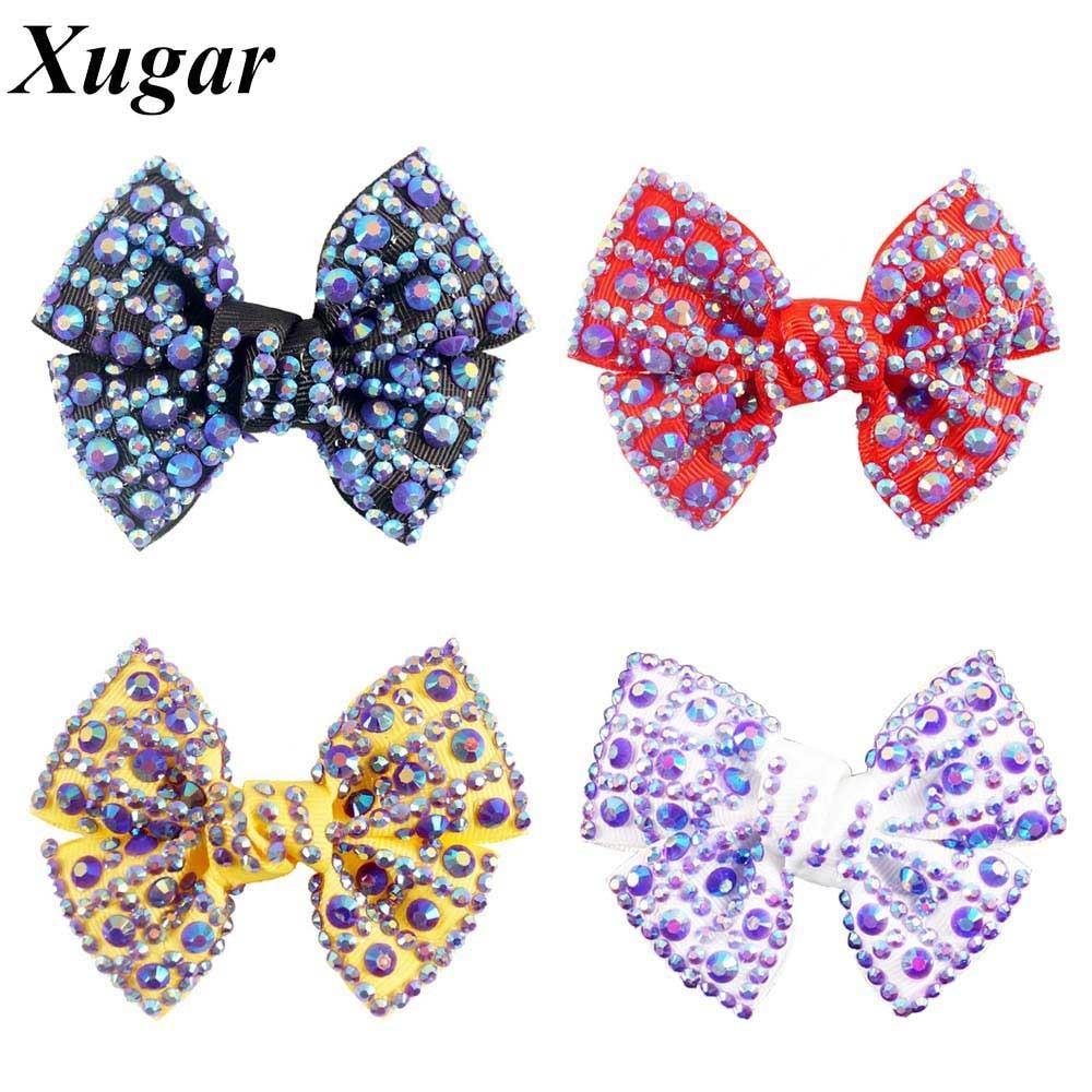3.5'' New Style Fashion High Quality Hot Sell Sweet Grosgrain Ribbon Rhinestone Hair Bow For  Children Girls new product high quality grosgrain