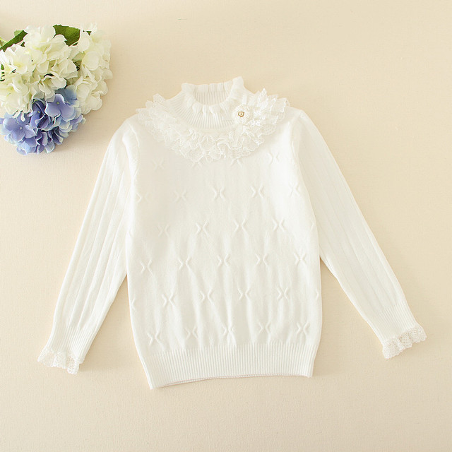 4-10Y New Spring Girls Knitted Sweater Tiny Cottons Clothes Child Lace Collar Girls Pullover Sweaters White/Pink/Black AS-1631