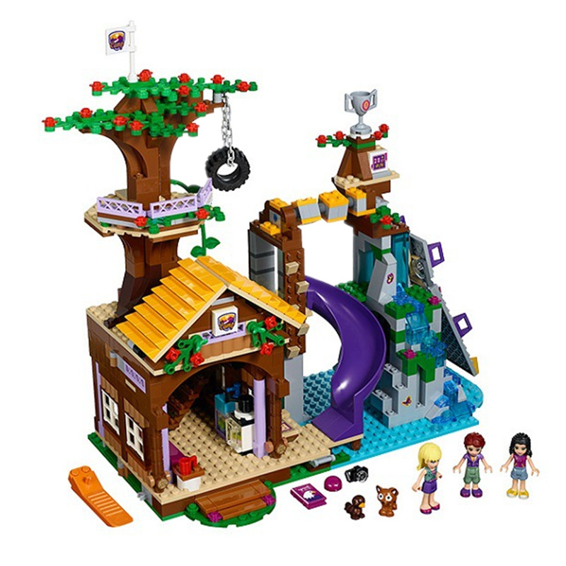 BELA 10497 Building Bricks Compatible with Legoingly Friends Blocks Adventure Camp Tree House 41122 Emma Mia Figure Toy Children kazi 608pcs pirates armada flagship building blocks brinquedos caribbean warship sets the black pearl compatible with bricks