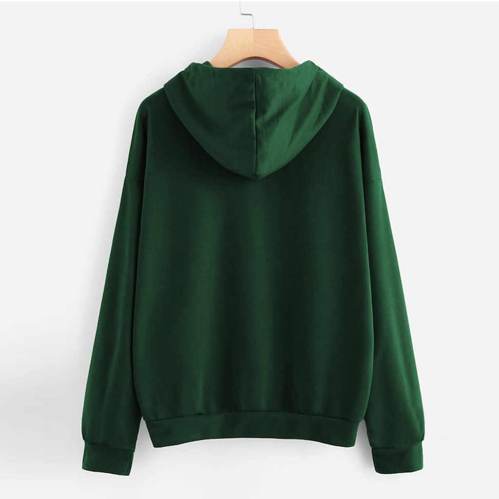 CHAMSGEND Женская мода сплошной цвет письмо с длинными рукавами и принтом свитер с капюшоном Свободная Повседневная Толстовка Спортивная тренировочная рубашка