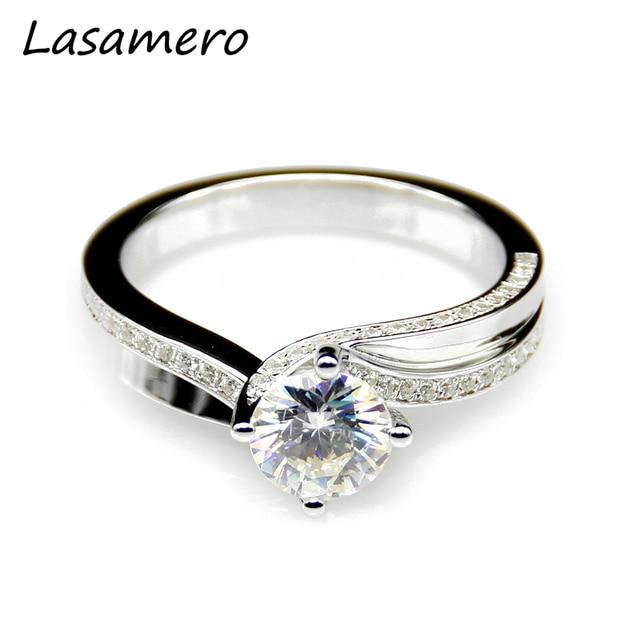 Lasamero 1ct Moissanites Lab Grown Diamond Split Shanks Ring 9k White Gold Engagement Wedding Rings Fine