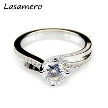 LASAMERO 1CT Moissanites Lab Grown Diamond Split Shanks Ring 9k White Gold Engagement Wedding Rings Fine Moissanites Ring