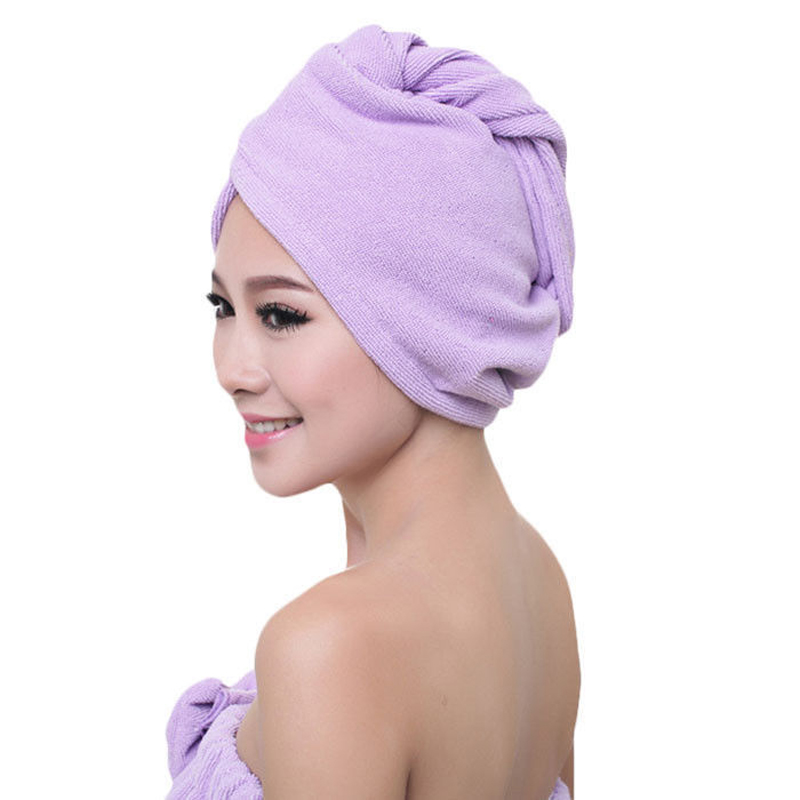 White Coral Velvet Hair Bath Towel Cap With Button And Loop for keeping it on Securely 1
