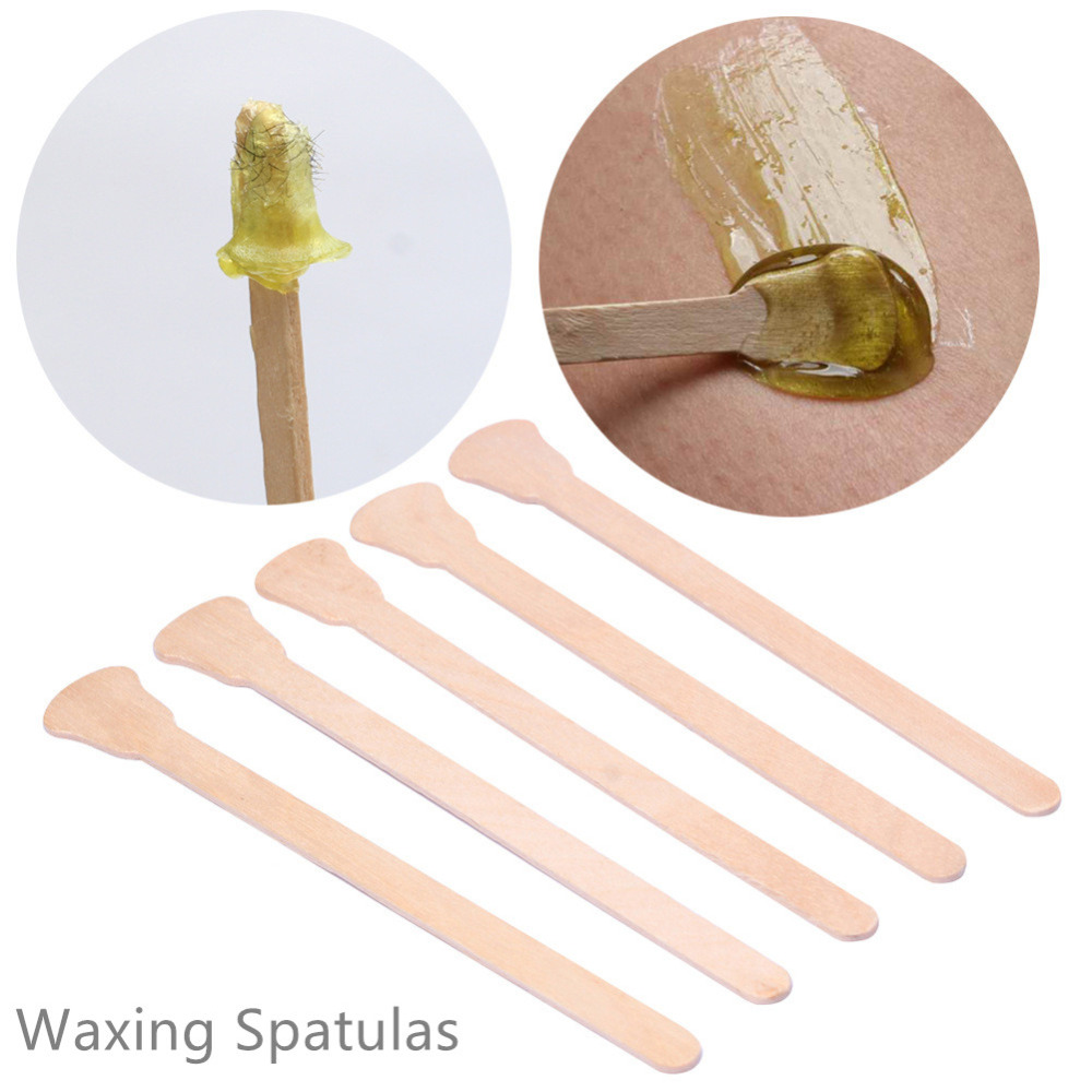 Strictly Professional Disposable Wooden Waxing Spatulas 10 Pieces Wax Stick Beauty Salon Hair Removal Tools (Size12.5cm*0.7cm)