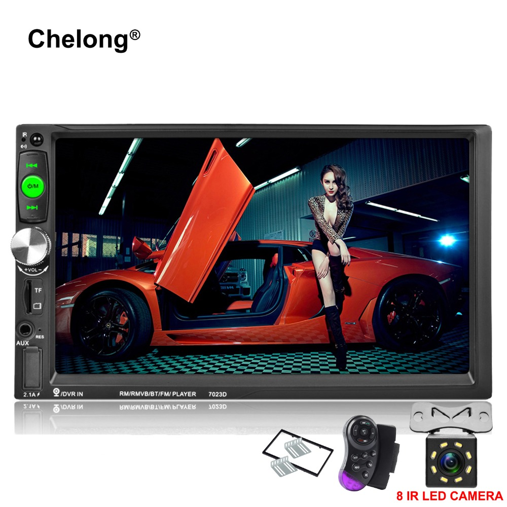 7023D 2Din 7inch Bluetooth HD 1024*600 Car MP5 Player with Card Reader Radio Tuner Fast Charge with Camera Car Stereo MP5 Player 2017 7023d double 2din car radio 7 bluetooth hd card reader radio fast charge car stereo audio mp5 player without rear camera