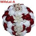 Вы На Заказ Ручной Работы Шелковый Бургундия Свадебные Букеты Красное вино Белый Алмаз Искусственные Цветы Свадебные Букеты Невесты W228