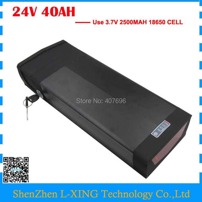 24V 40AH electric bike Battery 1000W 24V Lithium rear rack battery with tail light and USB Port with 50A BMS 29.4V 5A Charger24V 40AH electric bike Battery 1000W 24V Lithium rear rack battery with tail light and USB Port with 50A BMS 29.4V 5A Charger