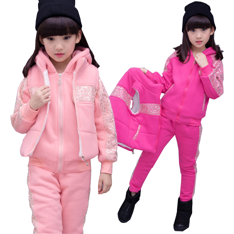Girls Clothes Winter Girls Sport suit Children Clothing Set Fleece Warm Kids Tracksuit Girls Teenager Fleece