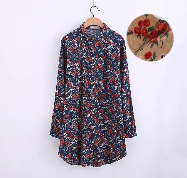 Cherry print fruit kawaii peter pan collar long sleeve long shirt blouse mori girl