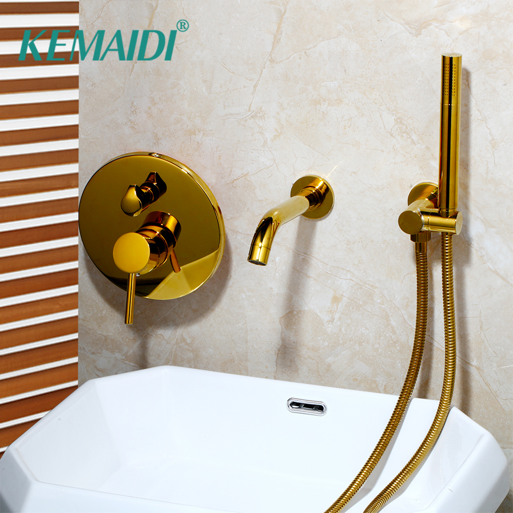 KEMAIDI Golden Plated Wall Mounted Bathtub 2 Functions Bathroom Faucets Shower Set Faucet Mixer Shower Set W/ Hand SprayKEMAIDI Golden Plated Wall Mounted Bathtub 2 Functions Bathroom Faucets Shower Set Faucet Mixer Shower Set W/ Hand Spray